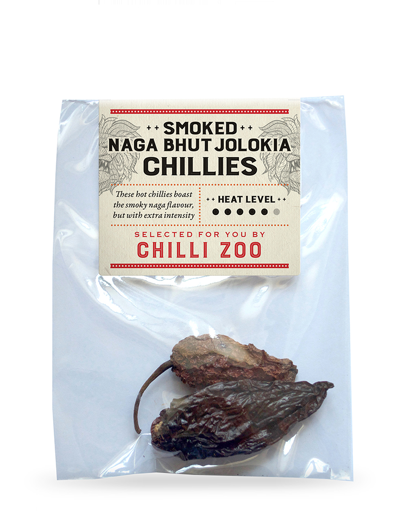 Dried Smoked Naga Bhut Jolokia chillies
